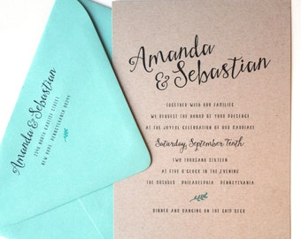 Mint Leaf Wedding Invitation, Wedding Invitations, Calligraphy Script, Custom Invites, Kraft Paper, Etsy Weddings, Sample Set