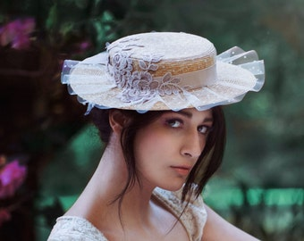 Suzette Straw Boater Belle Epoch Style, Milan Natural Straw Hat In Champagne Taupe And Ivory