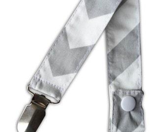 Pacifier Clip in Gray Chevron