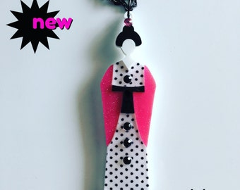 Polka dots GEISHA laser cut acrylic necklace