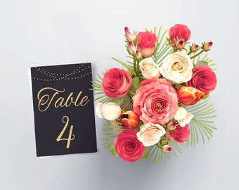 PRINTABLE - Table Numbers for Wedding, Table Numbers Script, Table Numbers Gold, Black and Gold Wedding Decor