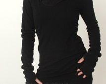 hooded tunic dress with thumb hole sleeves in BLACK