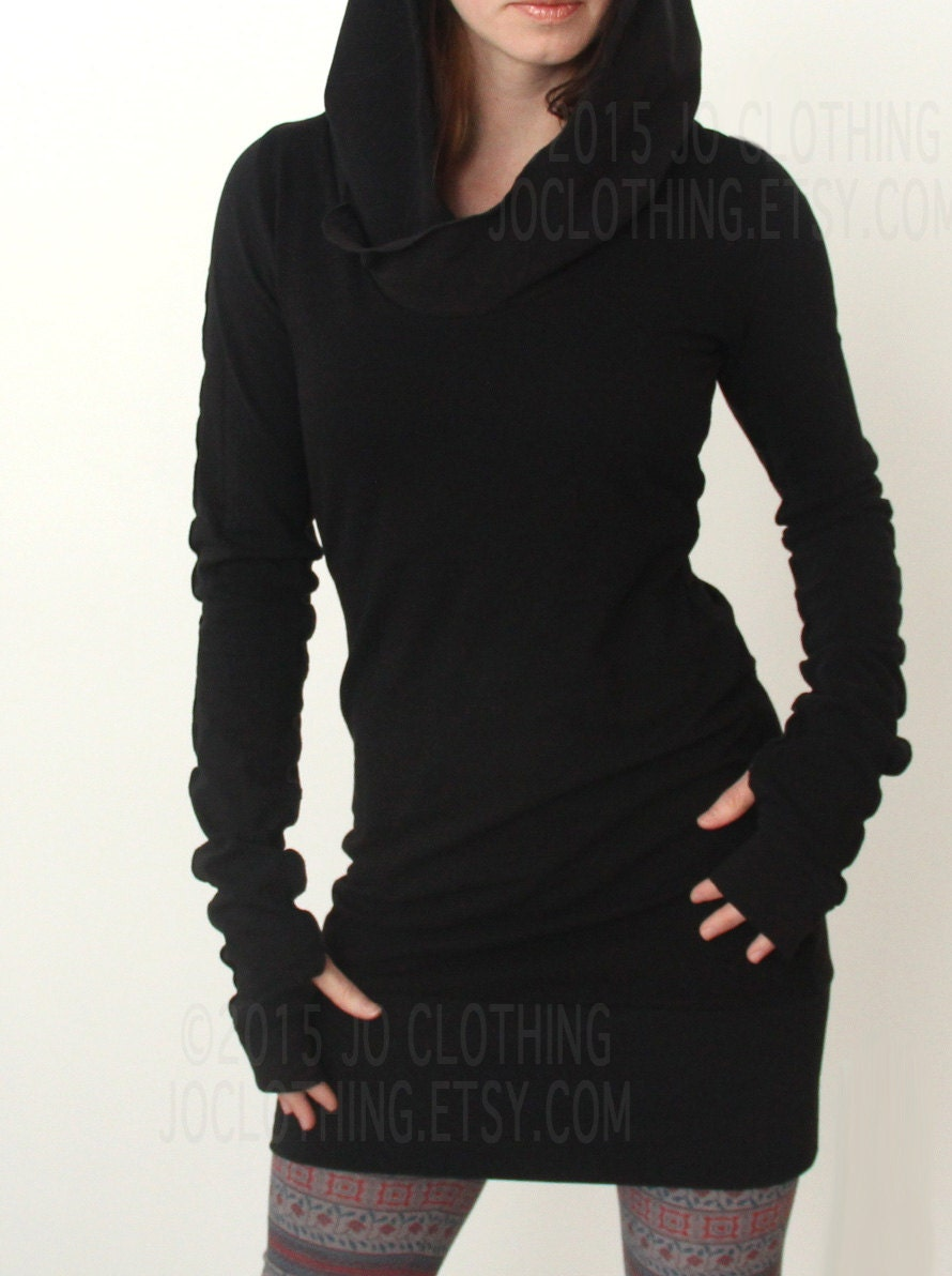 hooded tunic dress with thumb hole sleeves in BLACK/The