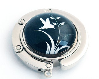 White Bird and Leaves on Black Background Photo Glass Cabochon, Purse Hanger