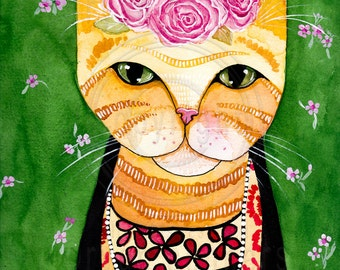 CAT Art Frida Catlo in Orange Original Cat Folk Art Watercolor Painting