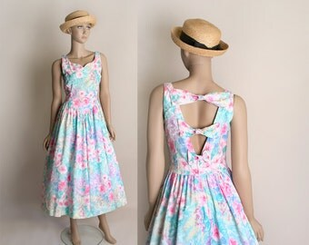 Vintage Floral Summer Dress - 1980s does 1950s Pastel Rainbow Open Back Bow Cotton Sundress - Small