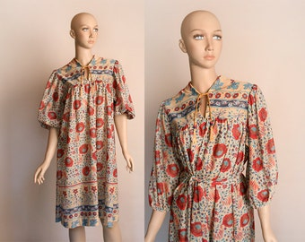 Vintage 1970s Dress - Sheer Floral Bohemian Style Lounge Tunic Day Dress - Medium