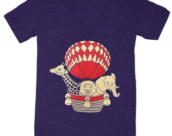 Vintage Hot Air Balloon Ride - V-neck T-Shirt Animal Safari Giraffe Lion Elephant Zoo Cute Adventure Tee Shirt Triblend Retro Vneck Tshirt
