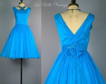 Vintage 1950s Prom Dress XS ~ True Blue Chiffon Frock ~ Low V Back ~ Full Skirt ~ JR Theme