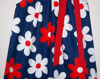 Floral Dress Pillowcase Dress with Flowers Red White Navy Michael Miller Lil Plain Jane Girls Dresses Summer Dresses Baby Dresses