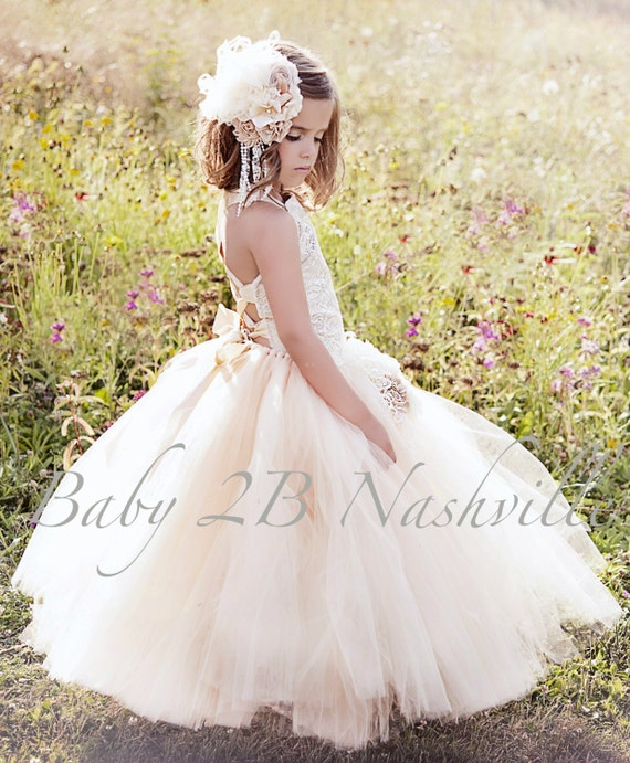 Vintage Dress Wedding Dress Sequin Lace Dress Flower Girl Dress  Ivory Lace with Khaki Underlay Dress Girls Tulle Dress Toddler Tutu Dress