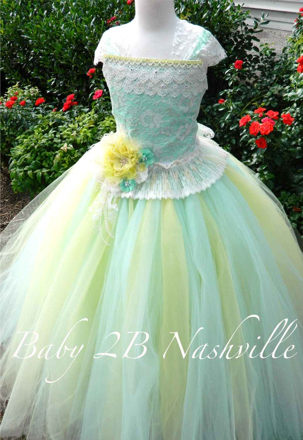 Mint and Yellow Flower Girl Dress Ivory Lace Dress Tulle Tutu
