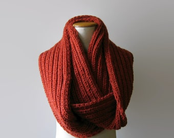 Terracotta Wool Chunky Knit Cowl Scarf, Loop Wrap Circle Scarf, Ribbed Hand Knit Wool Cowl, Womens Cowl, Mens Cowl, Snood Cowl, Neck Warmer