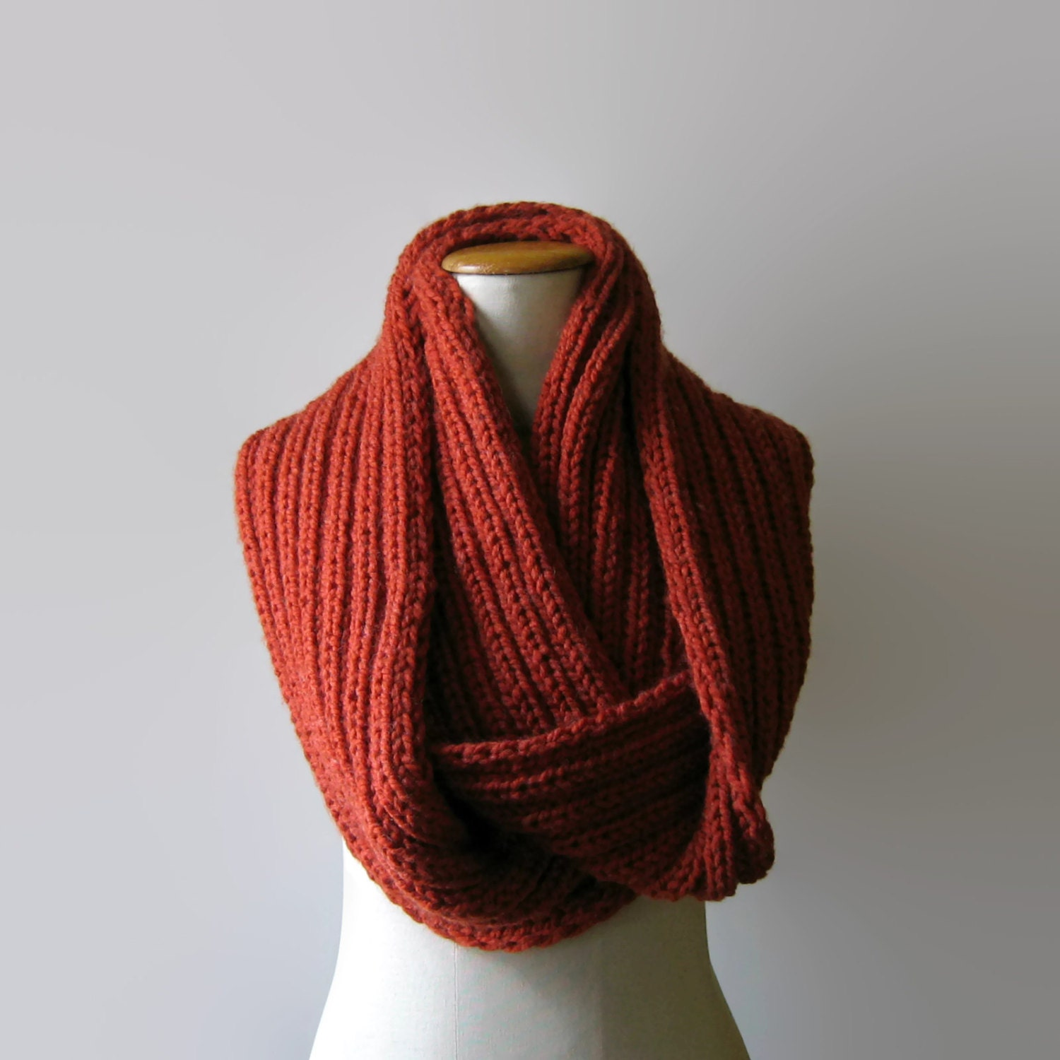 Knitting Chunky Scarves : Terracotta wool chunky knit cowl scarf loop wrap circle