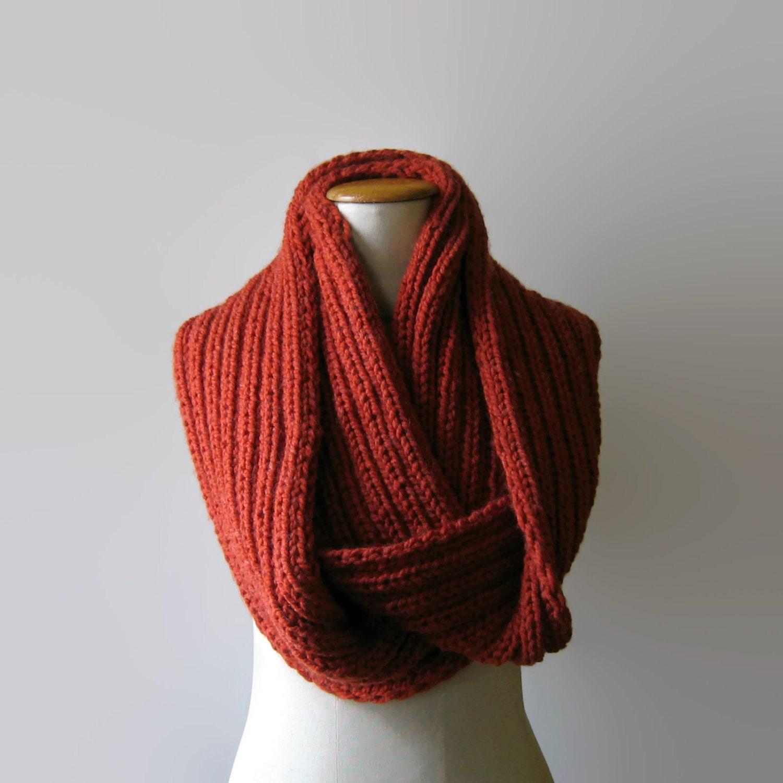 Knitting Cowl Scarf : Terracotta wool chunky knit cowl scarf loop wrap circle