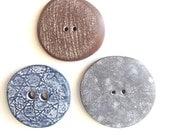 Handmade buttons, neutrals, polymer clay, set