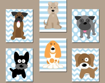 DOG Nursery Wall Art, CANVAS or Prints, Baby Boy Nursery Artwork, Puppy Art, Boy Bedroom Decor, Dog Theme, Dog Pictures, Set of 6 Boy Decor