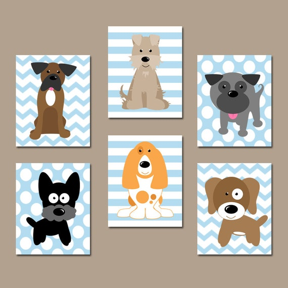 Dog nursery wall art canvas or prints baby boy nursery for Boys wall art