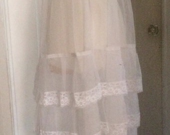 Vintage 60's White Lace Dress, Slip Dress, Sheer Organza Netting, Layers of Lace, Straps, Hand Made, Vintage Wedding
