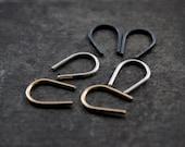 Simple Hook Sterling Silver 14K Gold Fill Earrings | Geo Geometric Minimalist Jewelry | Blackened Oxidized Sterling | GUGMA Women's Handmade