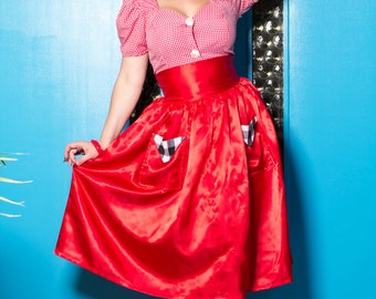 Pinup Girl Full Skirt Red Satin Brigitte Bardot