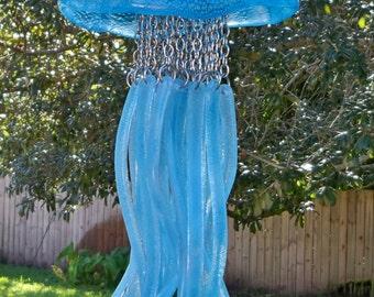 Jellyfish Fused Glass Windchime, Aqua Bubbles