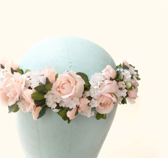 Pink flower hair wreath, Floral bridal crown, Pink and white circlet, Bridal hair wreath, Whimsical wedding accessory, Pastel pink crown