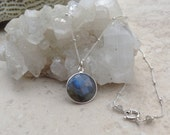 Faceted Round Labradorite and Sterling Silver Pendant on Sterling Satellite Chain Necklace