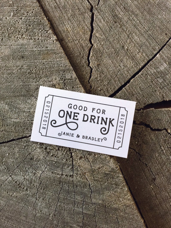 complimentary drink ticket template - wedding drink tickets redeem for a drink coupon party bar