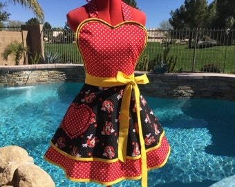 Ready to Ship - SALE  - Sassy Minnie Inspired Apron with Red Polka Dot Petticoat,  Sweetheart Bib, Handmade, Lolita Apron, Pin Up