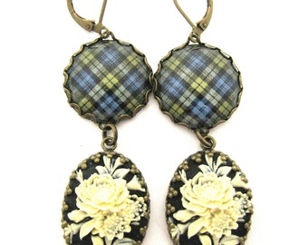 Scottish Tartan Jewelry - Tartans Special Occasion Collection -Campbell Clan Muted Tartan Earrings w/Floral Cameos