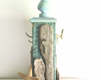 Nautical, Ring Holder, Gift, Jewelry Display, Ring Tree, Driftwood Art, Wood Bookend, Key Hook, Reclaimed Wood, Distressed , wabi sabi