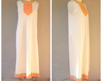 60s loungewear  / Gossard Artemis mod night gown / boudoir / peach orange lime, nehru collar, petite small-medium
