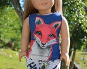 18 inch doll clothes, graphic print fox tank top, and graffiti print stretchy jeggings, 18 inch doll clothes