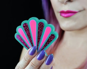 Mermaid Shell Compact Mirror - Turquoise, Cotton Candy Pink, & Fuchsia Glitter - Laser Cut Acrylic Pocket Mirror