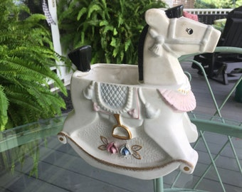 Vintage NAPCO Rocking Horse Nursery Planter Flower Pot Planter
