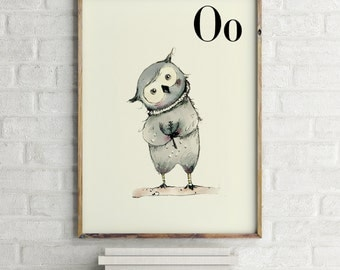 Owl print, nursery animal print, woodland nursery, alphabet letters, abc letters, alphabet print, animals prints for nursery