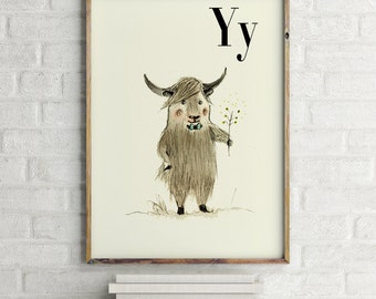 Yak print, nursery animal print, woodland nursery, alphabet letters, abc letters, alphabet print, animals prints for nursery