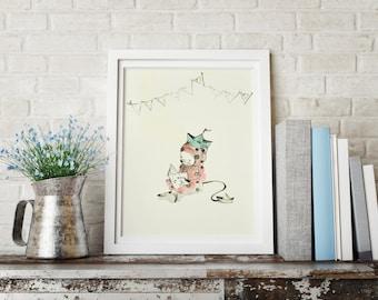 Pipino IV, Nursery wall art boy, nursery animal print, nursery decor boy, kids room decor, nursery wall decor, nursery animal wall art