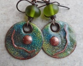 Fifty Shades of Green ... Copper Enameled Charms, Lampwork and Copper Wire-Wrapped Rustic, Boho, Earthy Earrings
