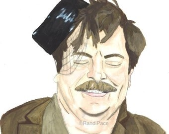 Ron Swanson - Snake Juice - Watercolor Painting Print