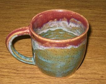 11 oz Mug - Antique Jade and Plum - Handmade Wheel Thrown Stoneware Pottery - Free Shipping