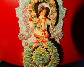 Vintage German 3  Dimensional Valentines Greeting, Victorian Greeting Valentine Card, Victorian Die Cuts, Made in Germany, Flower Garden