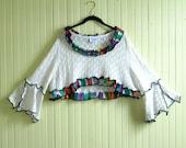 Cotton Sweater Shrug/Upcycled Coogi Sweater/One Size 8-16/Bohemian Crop Top/brenda abdullah