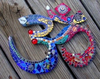 Mosaic Om Coexist  Ready to ship Love Mediation Peace Tree of Life Butterfly Dove