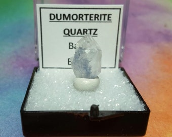 Sale DUMORTIERITE QUARTZ Blue Inclusions Rare Double Terminated Crystal In Perky Mineral Specimen Box From Brazil New Find