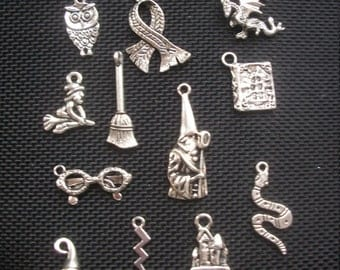 12 Harry Potter Themed Charms Silver Tone Metal