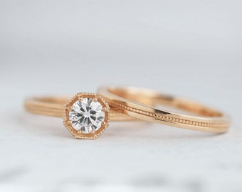 Half Carat Diamond Art Deco Engagement Ring | .50 carat Canadian Diamond Solitaire | Octagon Prong Setting | 14k 18k Rose Gold