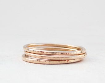 Hammered Gold Stack Rings Set of 3 | 14k Gold Stacking Rings Set | 3 very thin gold rings | Recycled Rose Yellow or White Gold