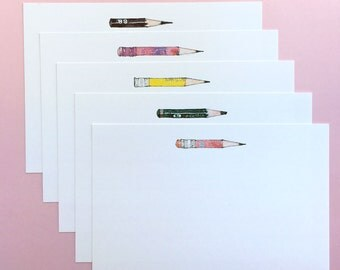 "Blank Pencil Notecards - Set of 5, 7"" x 5"""